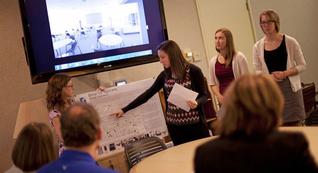Executives at Ontario Systems solicited help from interior design students in overhauling the company's 35,000-square-foot office building
