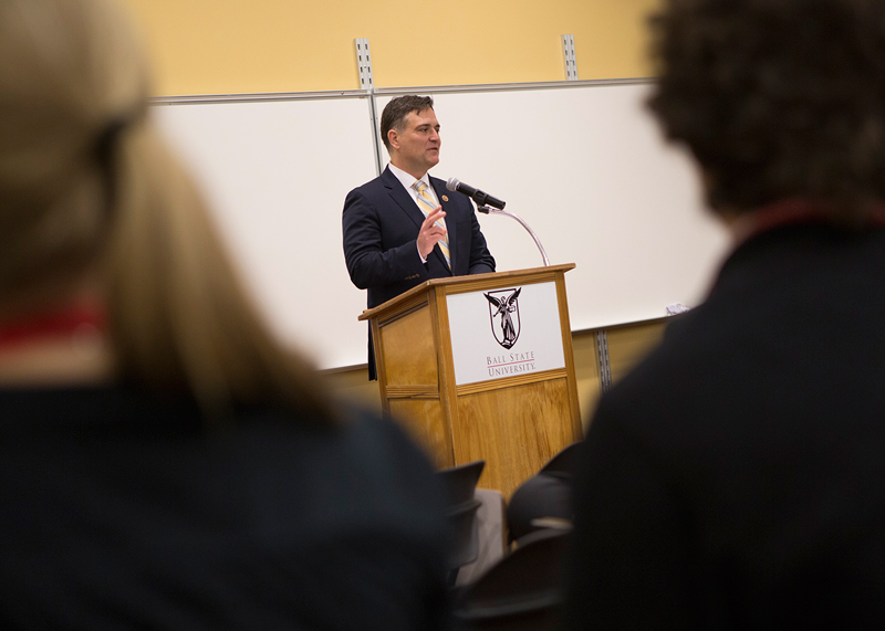 Congressman Messer speaks to students