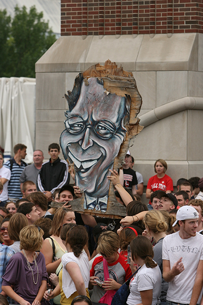 Students lift up a caricature of David Letterman