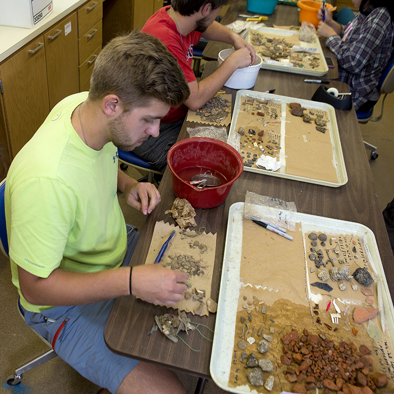 student working in anthropology lab