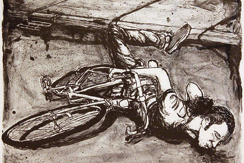drawing of a man falling off a bike
