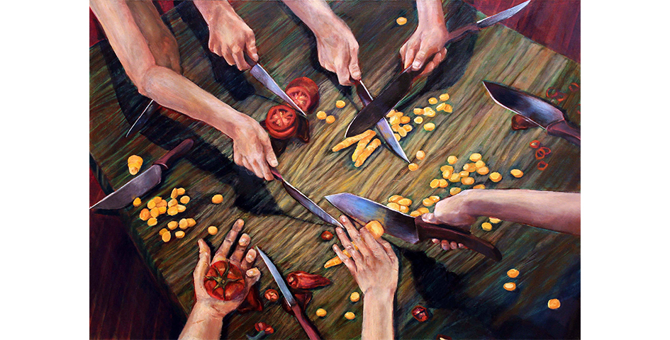 student painting of chopping vegetables