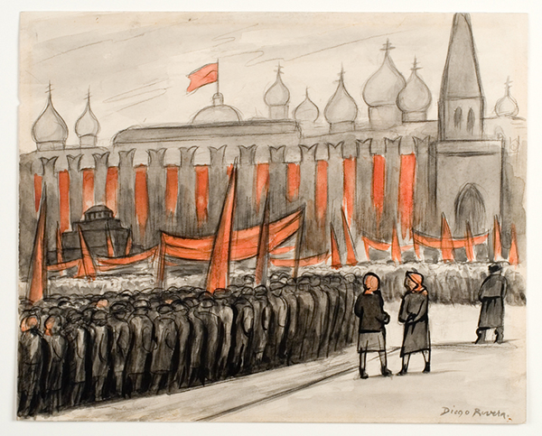 Diego Rivera painting of political demonstration