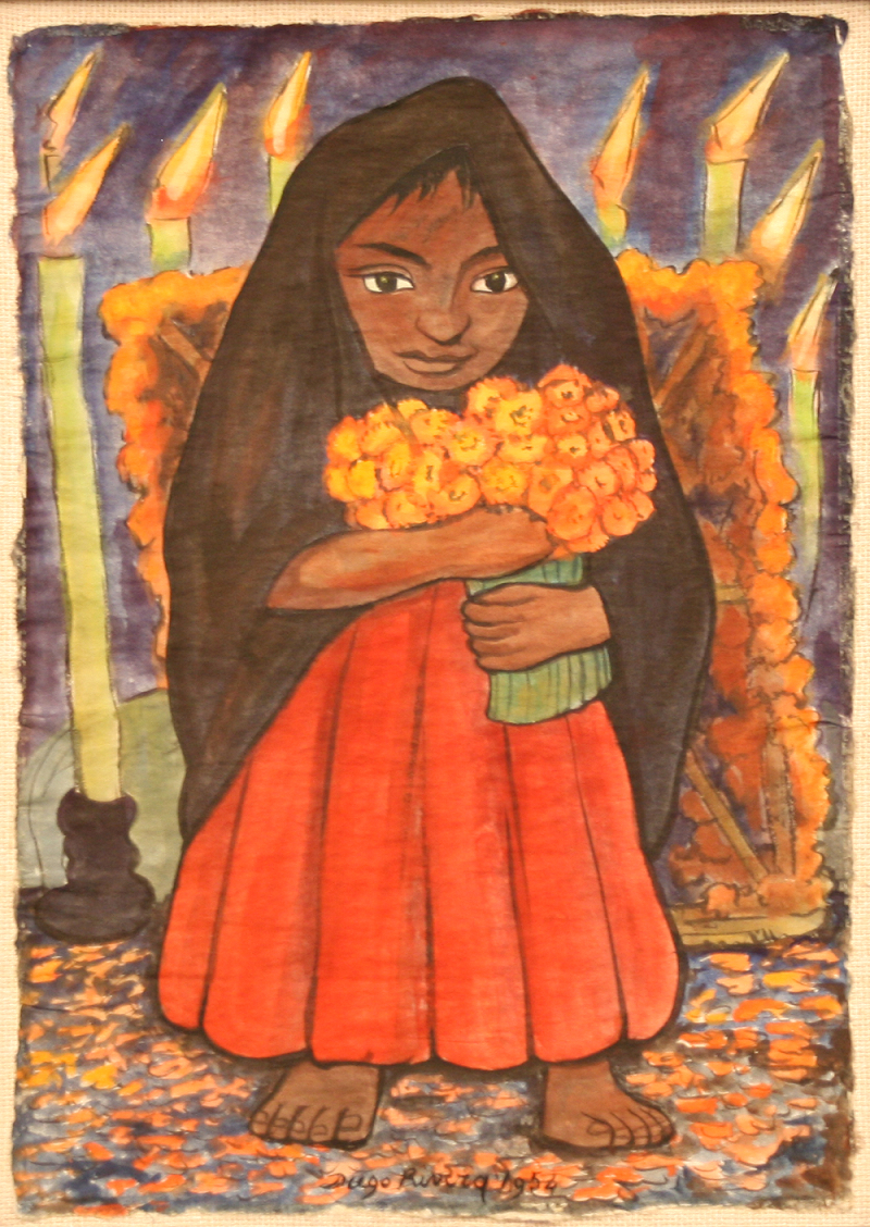 Rivera painting of girl holding flowers