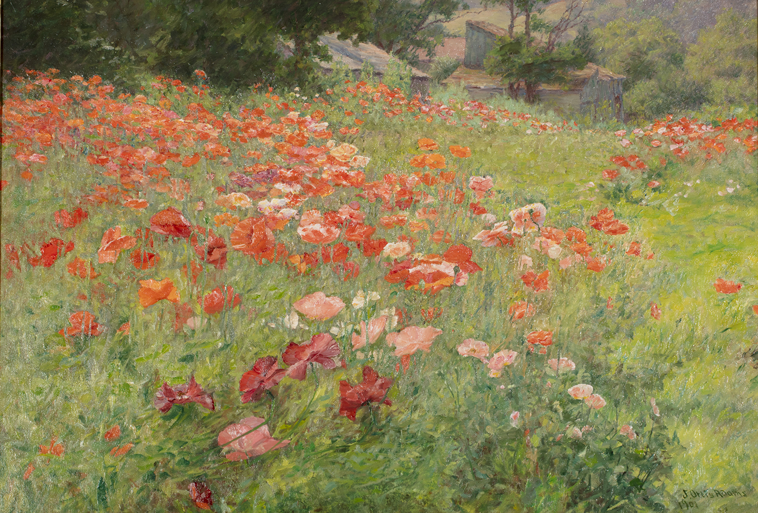 John Ottis Adams painting of poppies in a field