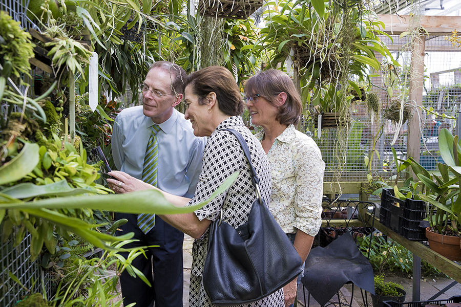 President Mearns touring the Greenhouse