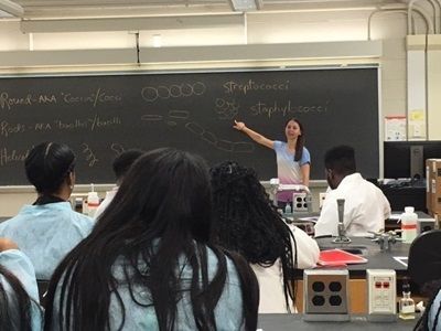 Photo of Biology Student Presenting in Front of Class