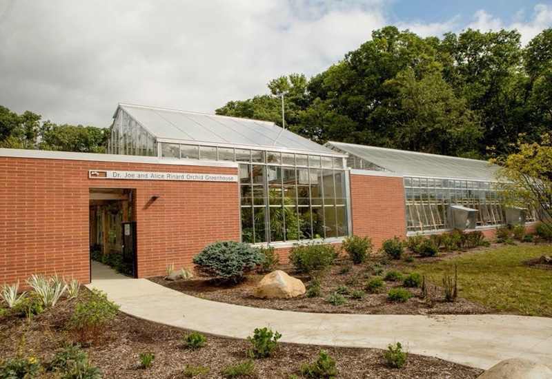 Photo of the exterior of the Rinard Orchid Greenhouse at Ball State University.