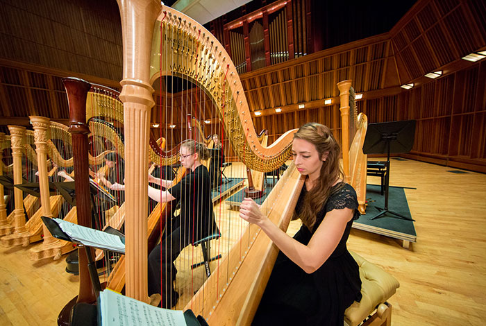 The Harp Ensemble performs in Sursa Performance Hall