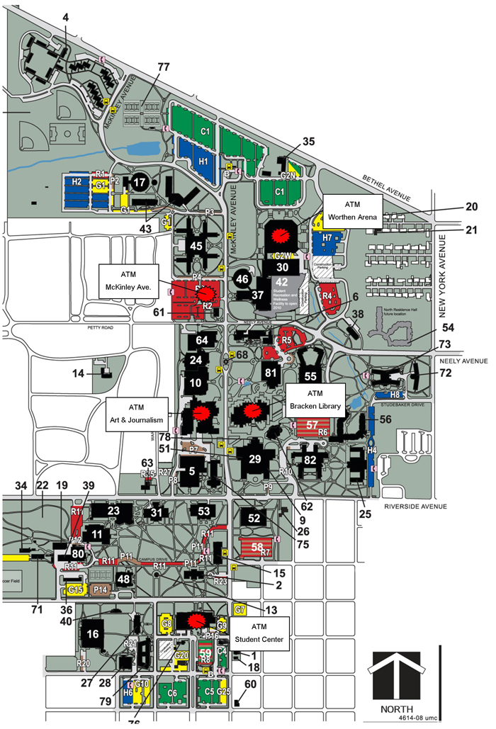 bsu map of campus Atm Locations Ball State University bsu map of campus