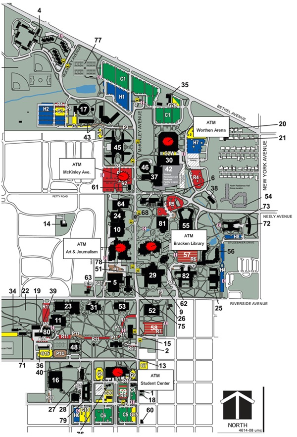 Ball State Campus Map ATMs | Ball State University