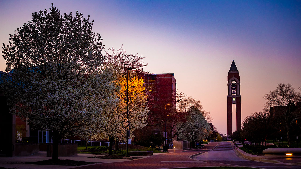 View of the Bell Tower on Ball State's campus.
