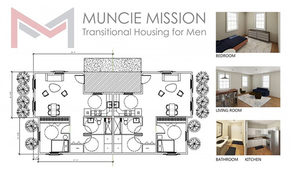 Plan for the Muncie Mission Transitional Housing for Men. copyright Janet Fick