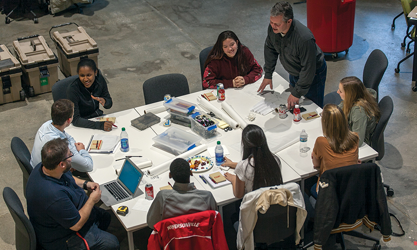 Professor Joe Blalock with high school students participating in CAP's Project Lead the Way session, Interactive City Design in November 2018.