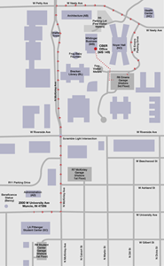 Map directions from 2000 W. University Ave. to the CBER office, WB 149