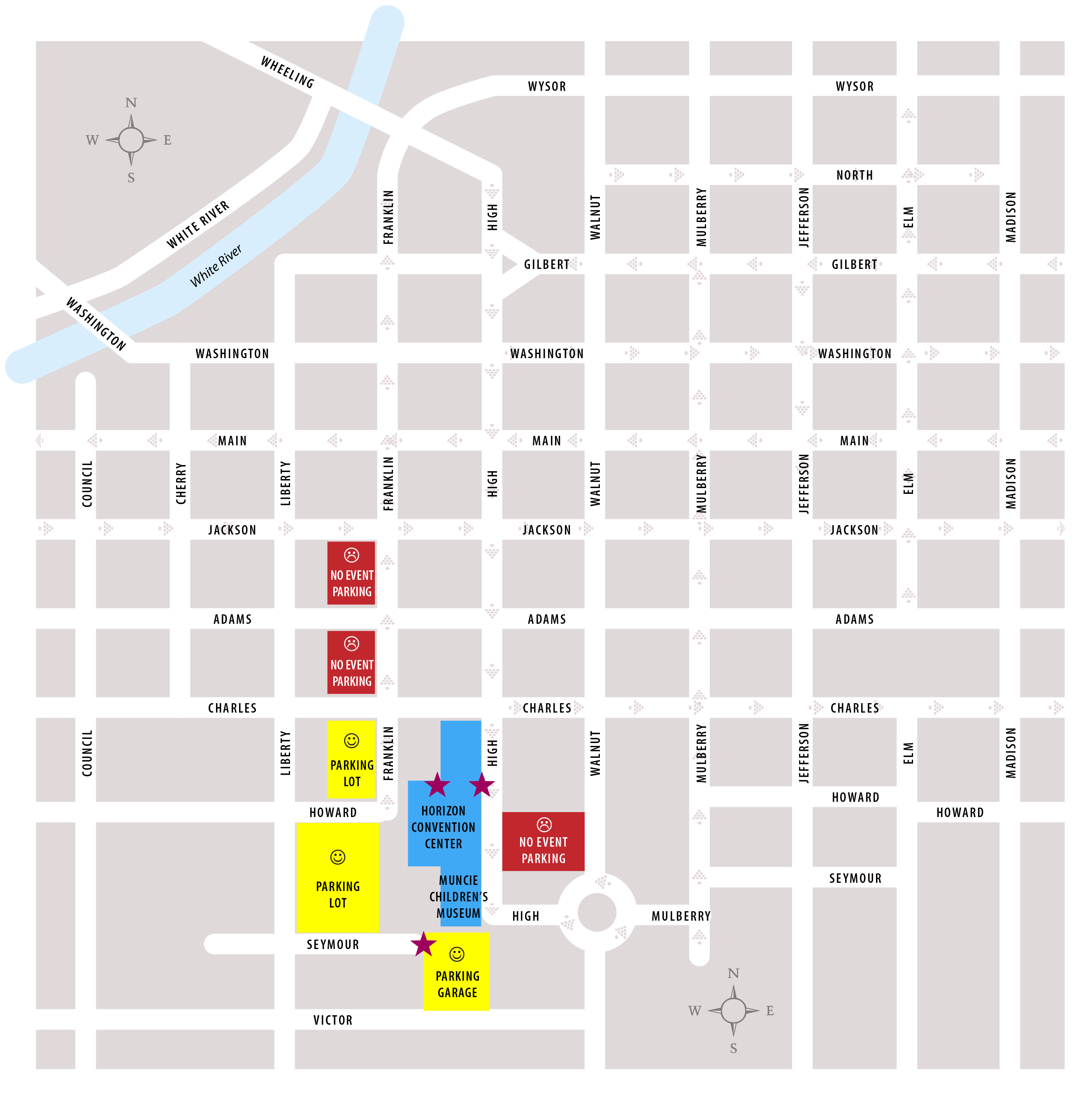 Horizon Convention Center Parking Map updated 2016