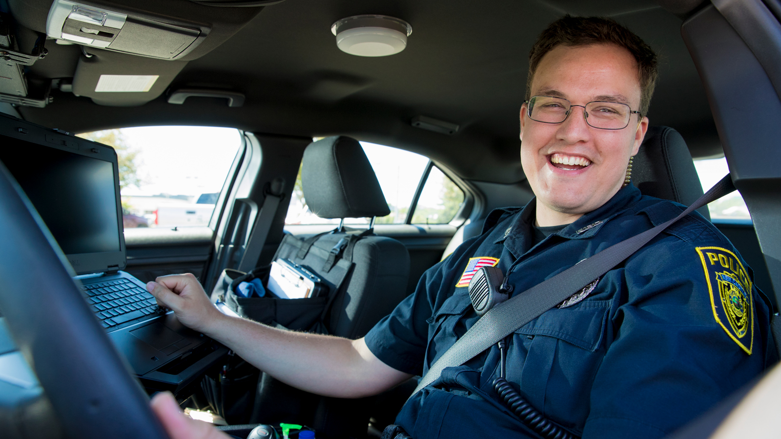 Ball State criminal justice graduate in uniform as police officer