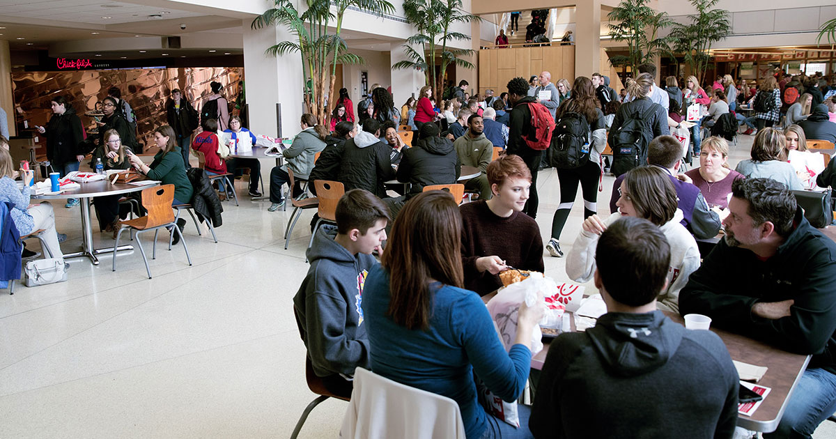 Students eating in Atrium
