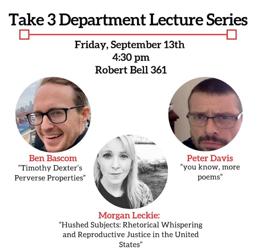 Take 3 Lecture Series Presenting Morgan Leckie, Ben Bascom, and Peter Davis