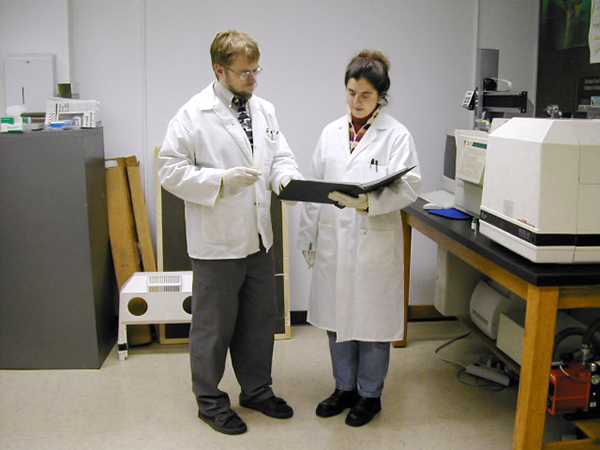 environmental sciences students in a lab