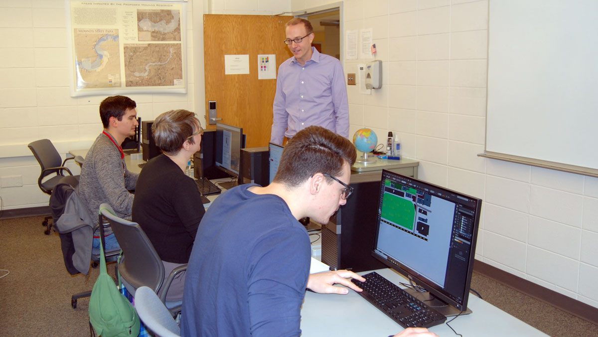 students using computers in a GIS lab