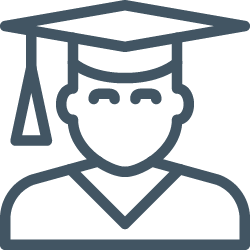 icon of a graduate with mortar board hat and tassle