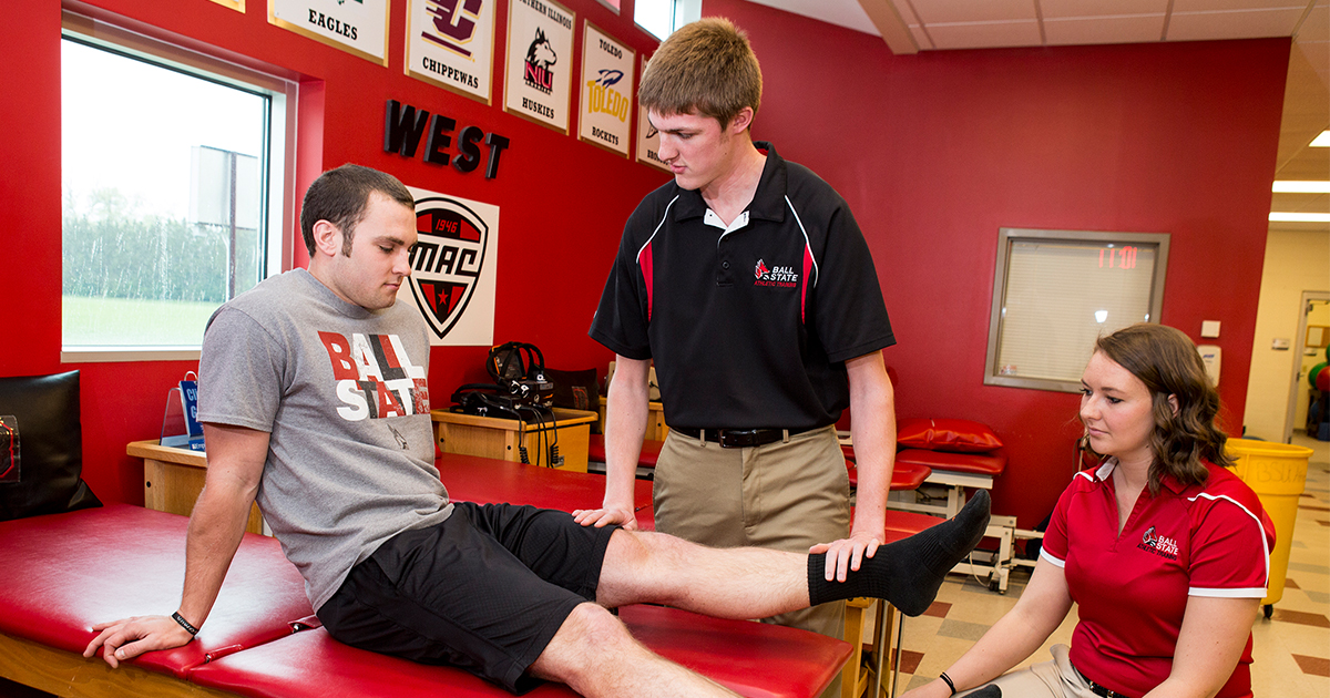 Athletic Training students work with a patient