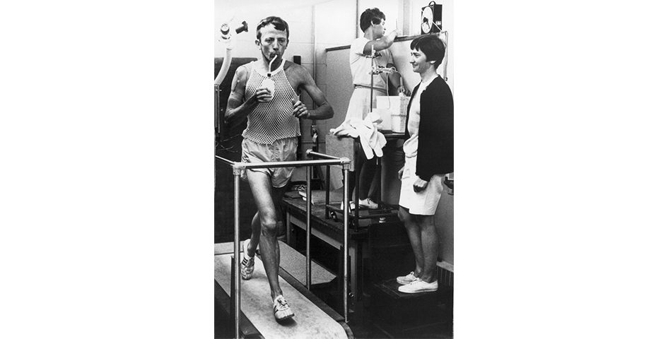 runner and author Hal Higdon on treadmill in Human Performance Laboratory
