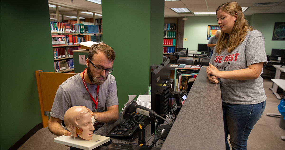 Students in the Science-Health Science Library