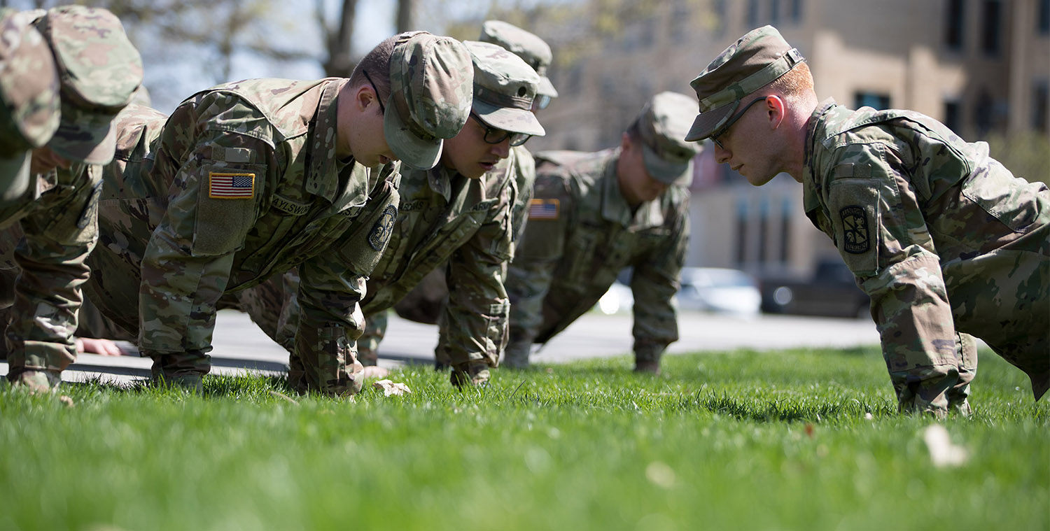 Military Science students train in the Quad
