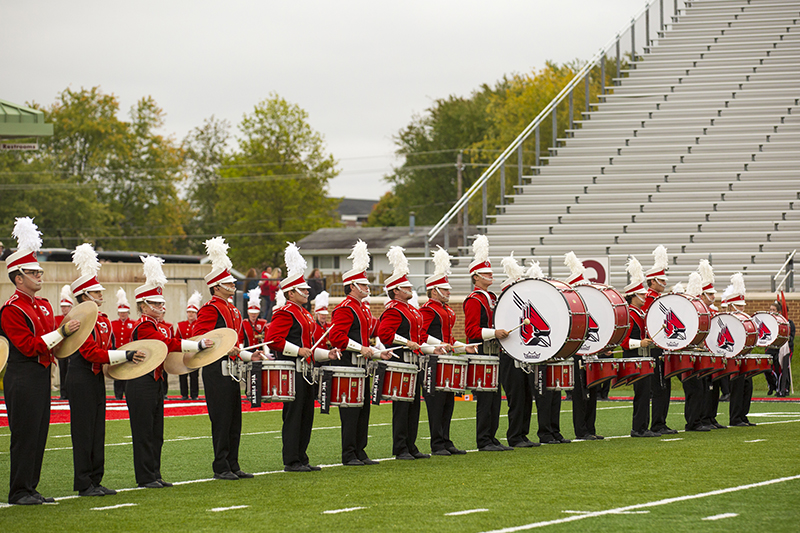 ball state marching band on the football field