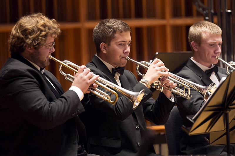 students play trumpet at sursa performance hall