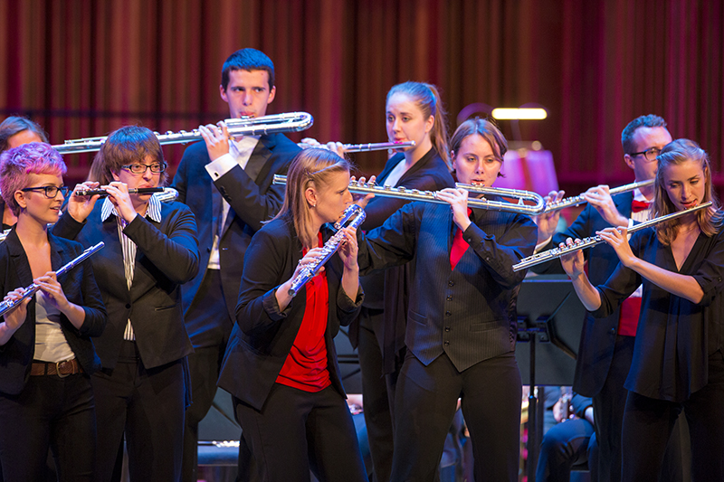 student woodwind ensemble performs on stage