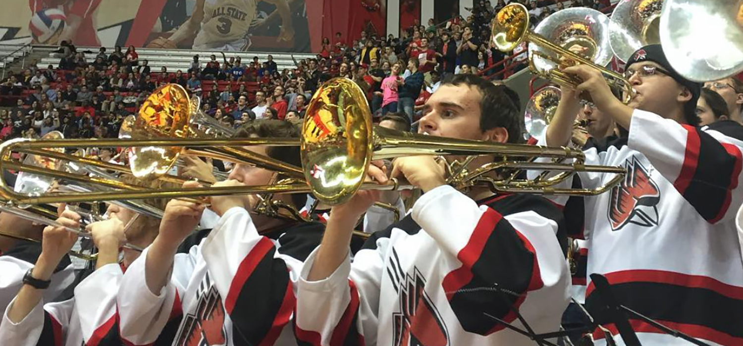 basketball band performs in worthen arena