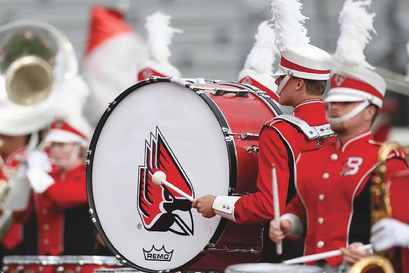 ball state bass drum from the marching band performance on the football field