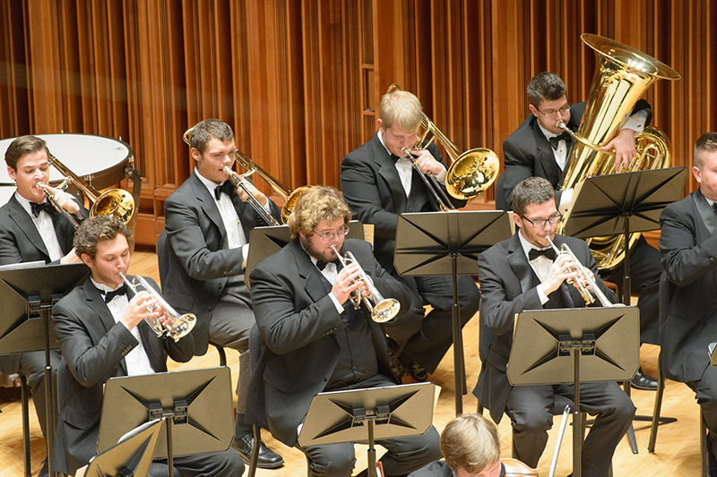 brass ensemble performing on stage