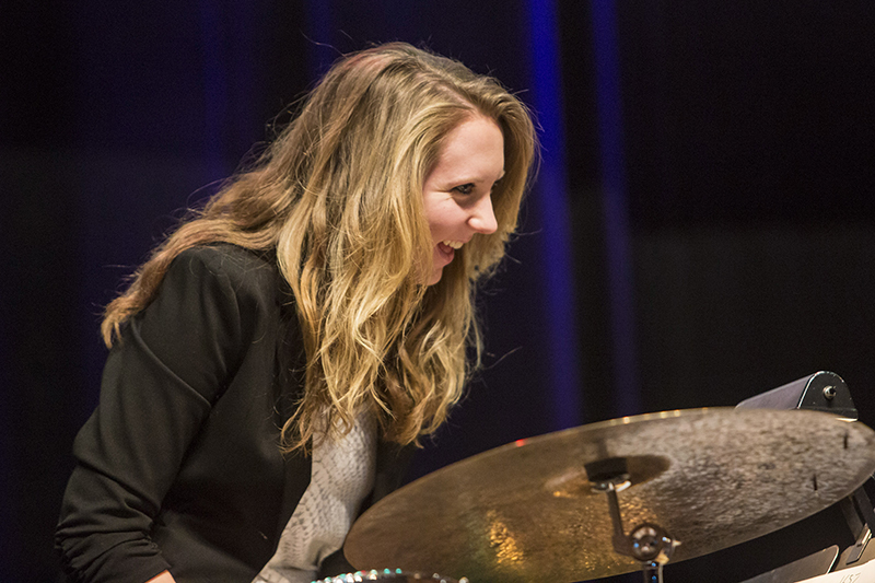 student drummer performs on stage