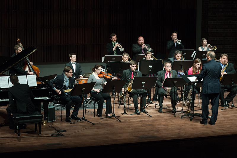 full jazz band performing on stage