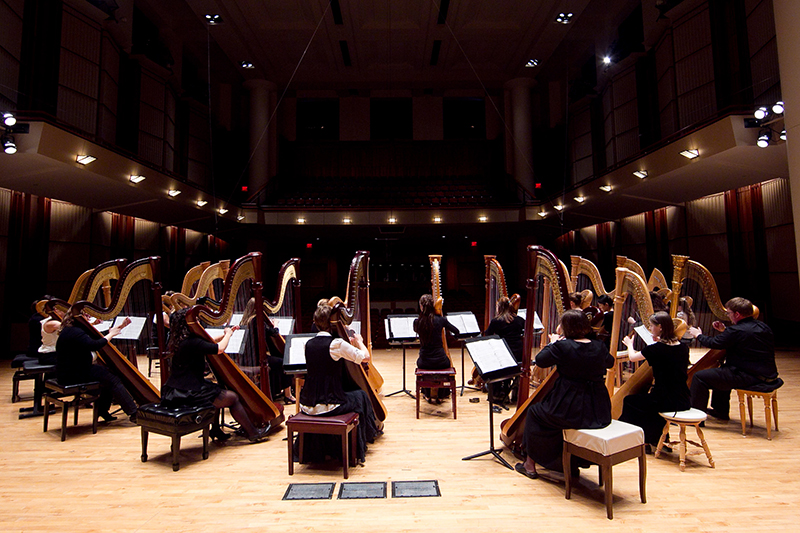 harp ensemble on stage