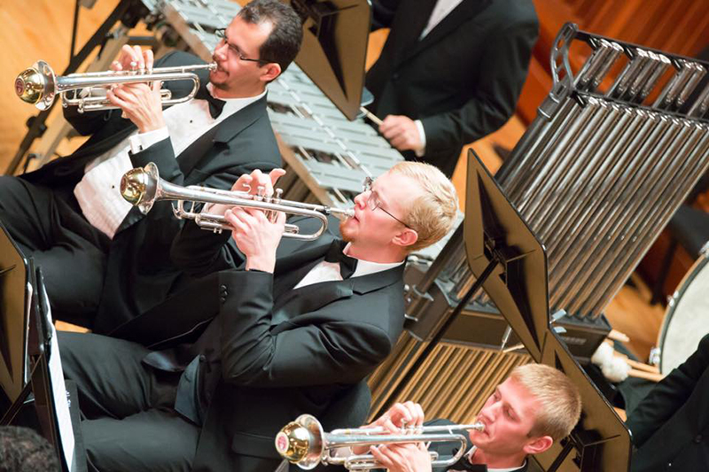 trumpet players perform in sursa performance hall
