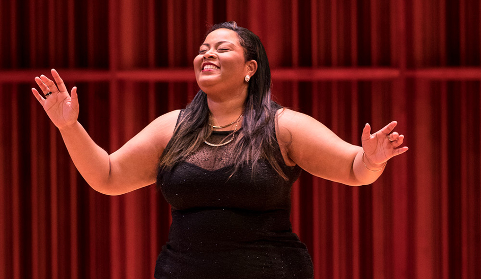 Maegan Pollonais singing at the annual Ball State Opera Theatre Gala