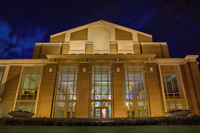 Music Instruction Building Exterior at night