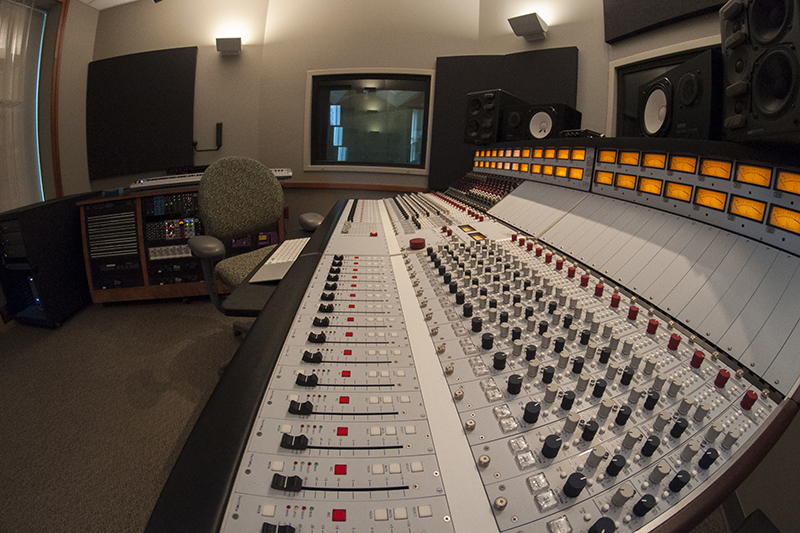 sound board inside the music media production studio