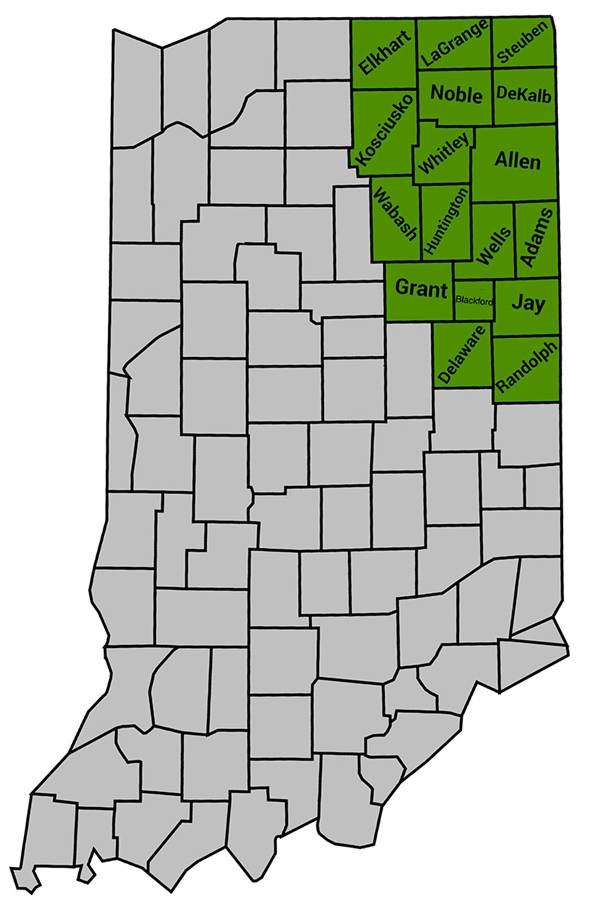 17 northeast Indiana counties highlighted green