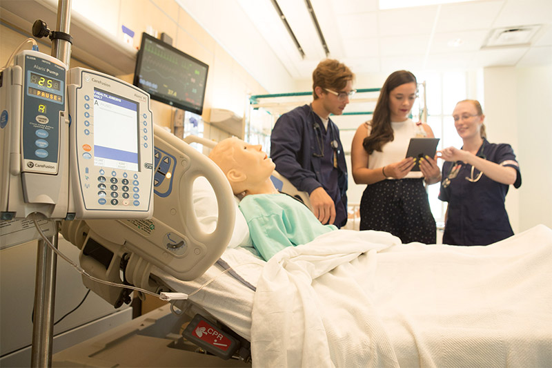 Nursing students learn in a state-of-the-art laboratory