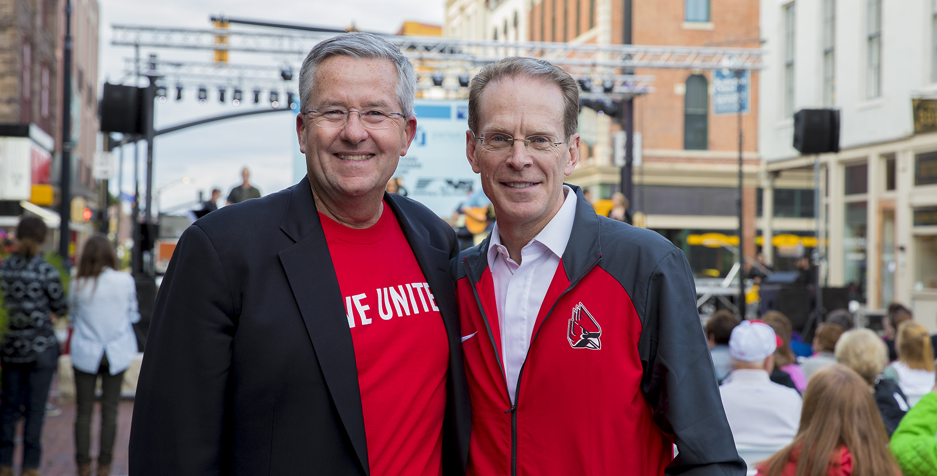 President Geoffrey S. Mearns (right) and Board of Trustees member Brian Gallagher