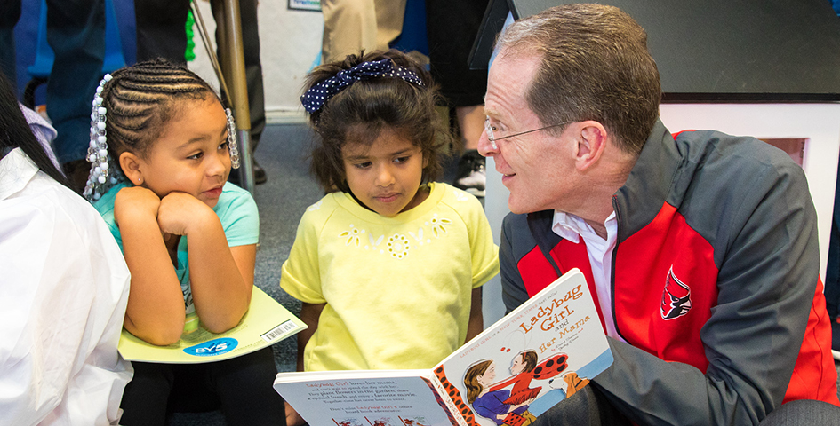 President Mearns with children