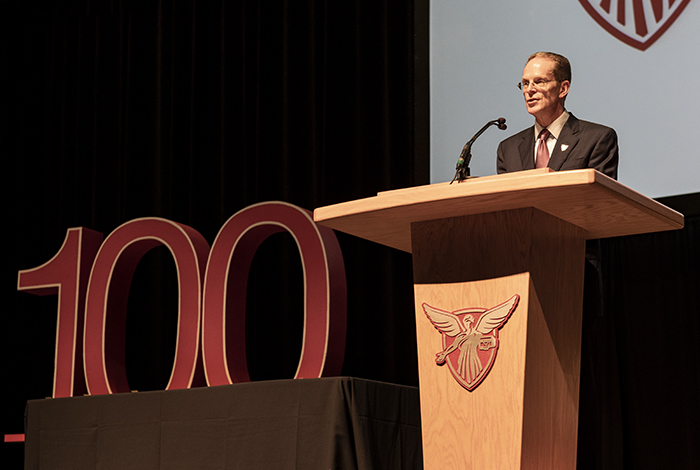 President Mearns speaks at Fall Opening Convocation 2018