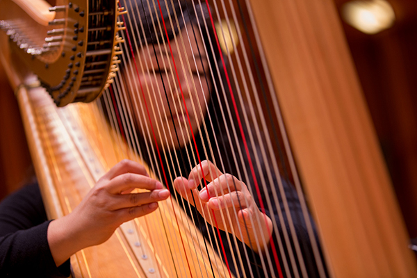 College of Fine Arts student playing harp