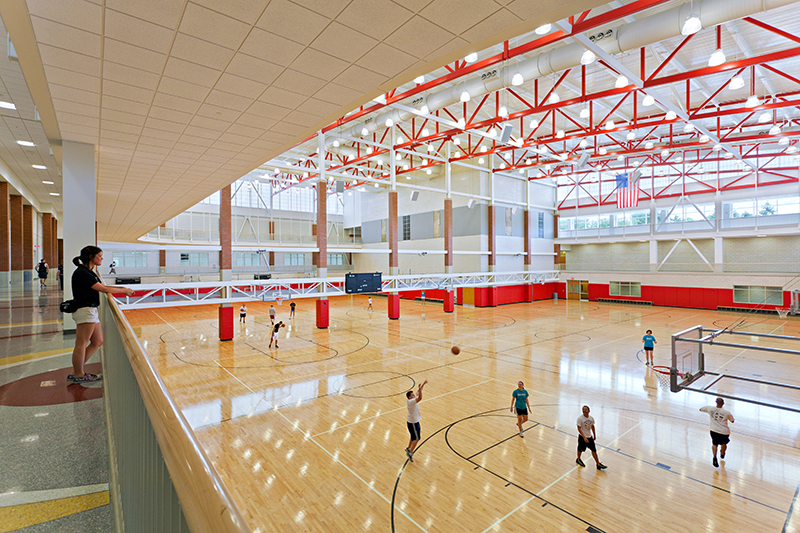 basketball courts at the Student Recreation and Wellness Center
